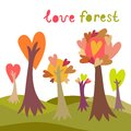 Colorful love forest background Royalty Free Stock Photos