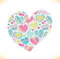 Colorful love ornamental pattern on heart beautiful love symbol romantic banner Stock Image