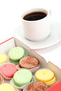 Colorful Macaroon and cup of coffee Royalty Free Stock Photos