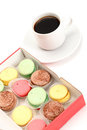 Colorful Macaroon and cup of coffee Stock Images