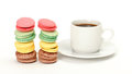 Colorful Macaroon and cup of coffee Royalty Free Stock Image