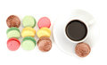 Colorful Macaroon and cup of coffee Royalty Free Stock Photography