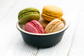 Colorful macaroons in bowl the ceramic Stock Photos