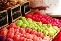 Colorful macaroons in a camden market stall Stock Image
