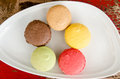 Colorful macaroons dish Royalty Free Stock Photos