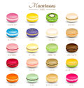 Colorful macaroons flavors on white background Royalty Free Stock Images