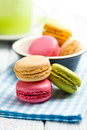 Colorful macaroons on napkin checkered Stock Photo