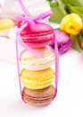 Colorful macaroons tied with ribbon Stock Photography