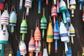 Colorful Maine Lobster Buoys Stock Photography