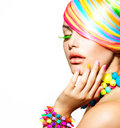 Colorful makeup hair and accessories beauty girl portrait with Royalty Free Stock Images