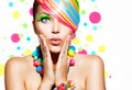 Colorful makeup hair and accessories beauty girl portrait with Stock Images