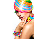 Colorful makeup hair and accessories beauty girl portrait with Stock Photography