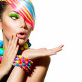 Colorful makeup hair and accessories beauty girl portrait with Stock Image