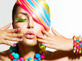 Colorful makeup hair and accessories beauty girl portrait with Royalty Free Stock Photos