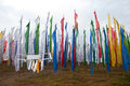 Colorful Mantra flag field in Darjeeling Royalty Free Stock Images