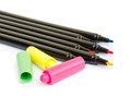 Colorful marker pens on white background Royalty Free Stock Photos
