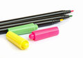 Colorful marker pens on white background Stock Photo
