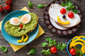 Colorful meal for kids: healthy vegetable sandwiches