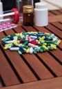 Colorful medicine pills for effective treatment bunch of Stock Images