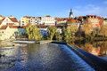 Colorful medieval town pisek above the river otava czech republic Royalty Free Stock Images