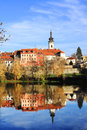 Colorful medieval town pisek above the river otava with its castle czech republic Royalty Free Stock Photography