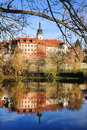 Colorful medieval town pisek above the river otava with its castle czech republic Stock Images