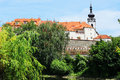 Colorful medieval town pisek above the river otava with its castle czech republic Royalty Free Stock Photos