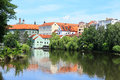 Colorful medieval town pisek above the river otava with its castle czech republic Royalty Free Stock Image