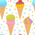 Colorful melting ice cream seamless pattern on stars background Royalty Free Stock Images