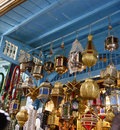 Colorful Metal Lamps, Arabic Handicraft, Tunis Medina Royalty Free Stock Photo