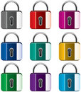 Colorful metal locks Stock Photography
