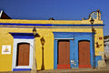 Colorful mexican houses typical spanish colonial in oaxaca mexico Royalty Free Stock Images