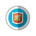 Colorful middle shadow sticker with blue circle with shield and snake virus Royalty Free Stock Photo