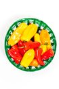 Colorful mini peppers orange yellow and red bell Stock Images