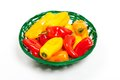 Colorful mini peppers orange yellow and red bell Royalty Free Stock Photos