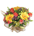 Colorful mixed floral bouquet yellow gerbera, orange roses, lily Royalty Free Stock Photo