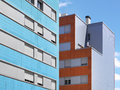 Colorful modern building facade with blue sky horizontal Stock Photo