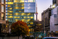 Colorful modern buildings of downtown Toronto and CN Tower at night - Toronto, Ontario, Canada Royalty Free Stock Photo