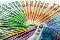 Colorful money fan of different euro notes 500 200 100 50 20 Royalty Free Stock Photo