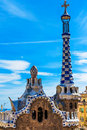 Colorful mosaic building in park guell barcelona spain designed by antonio gaudi Royalty Free Stock Image