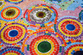 Colorful mosaic floor in a public temple in thailand Stock Image