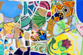 Colorful mosaic in Guell park, Barcelona Stock Photos