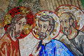 Colorful mosaic in the patio of Polloc church Royalty Free Stock Photo