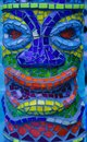 Colorful mosaic tile tiki man head detail pattern background Royalty Free Stock Photo