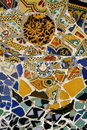 Colorful mosaic tiles in Park Guell. Spain Royalty Free Stock Image