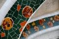 Colorful mosaics of broken ceramic vessels. Antonio Gaudi. Park Guell.