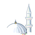 Colorful mosque drawing and minarette Royalty Free Stock Photo