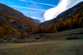 Colorful mountain landscapes, fall colors, mountains, sky and water Royalty Free Stock Photo