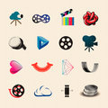 Colorful movie icons set eps illustration Royalty Free Stock Image