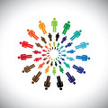 Colorful multi ethnic people teams or communities meet as circle circles this vector graphic can represent concept of interacting Royalty Free Stock Images